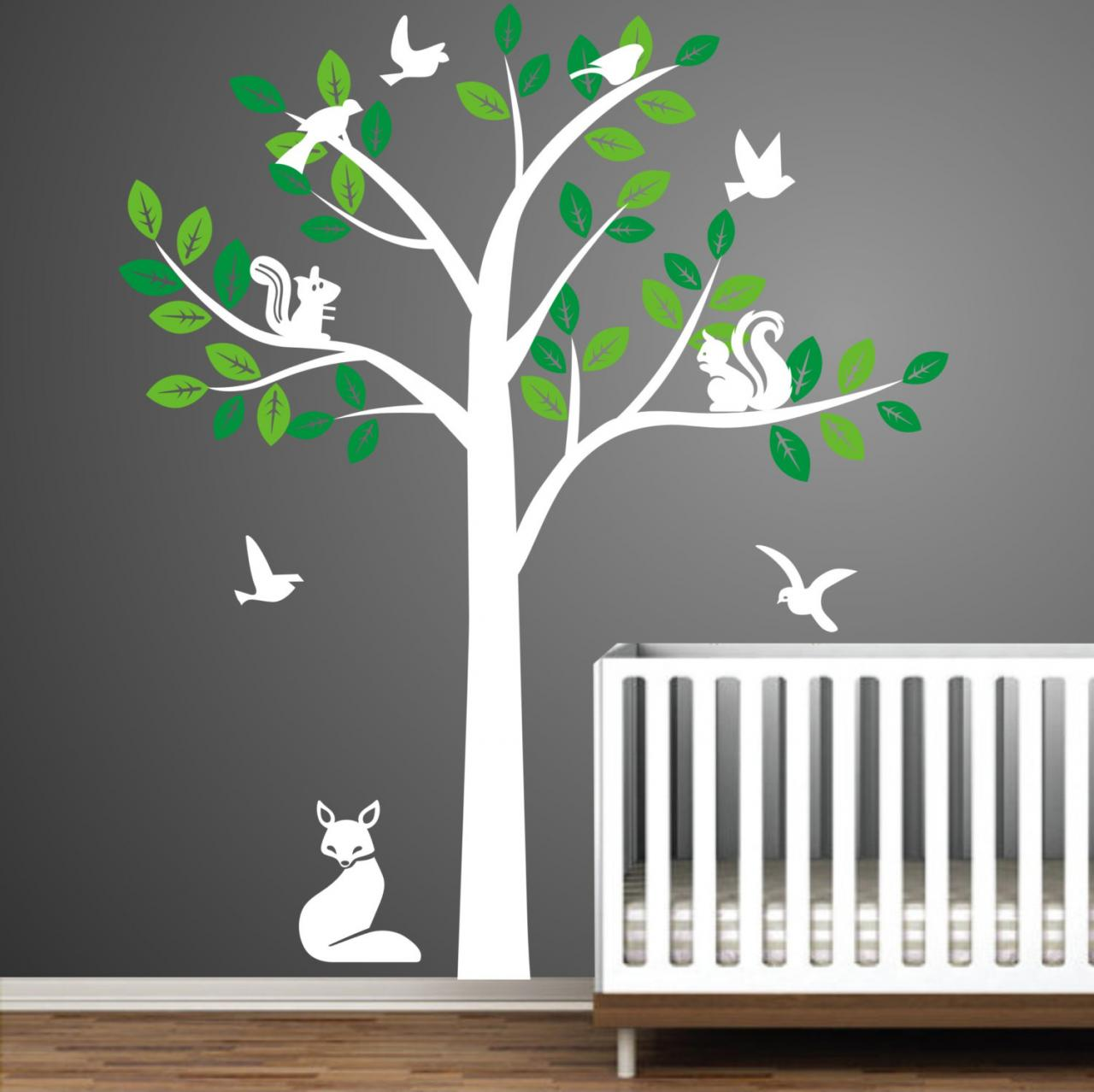 Cute fox squirrel birds tree trees bird squirrels art for Bird and owl tree wall mural set