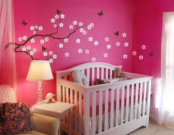 Butterfly Blowing Cherry Blossom Branch Home Art Decals Wall Sticker ...