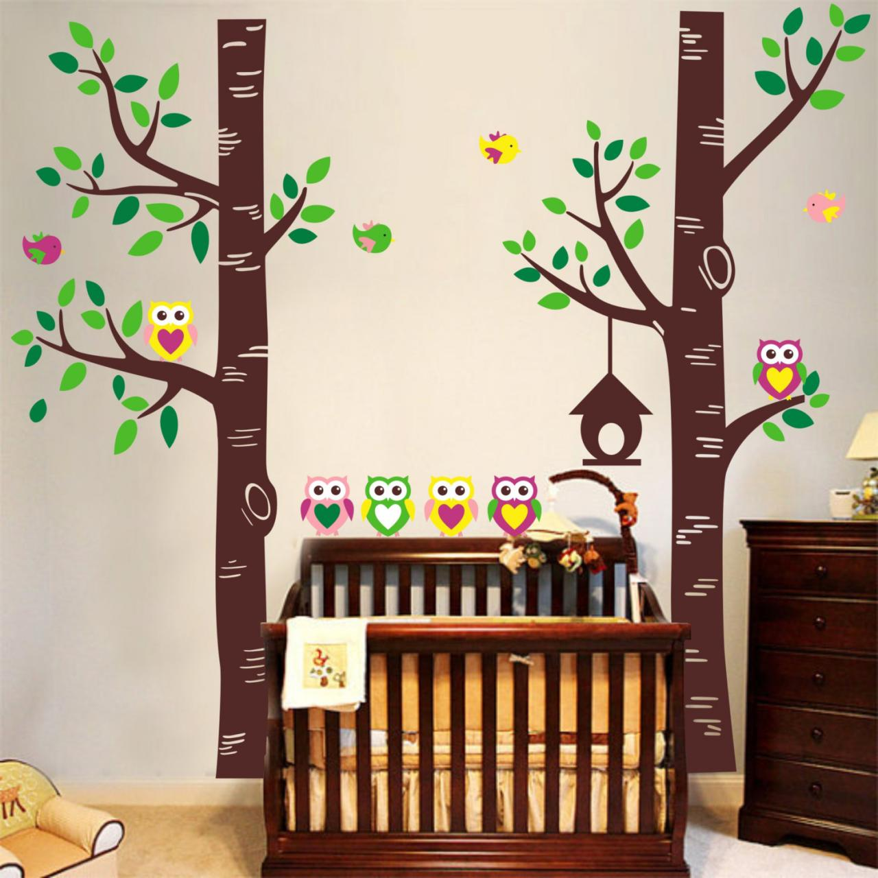 Two lartge tree forest with owl family leaves leaf bird for Bird and owl tree wall mural set