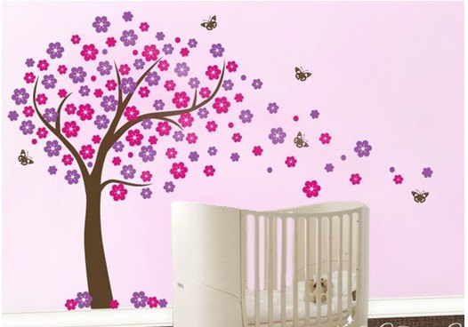 Butterfly Blowing Cherry Flower Blossom Tree Trees Home Art Decals - Vinyl wall decals butterflies