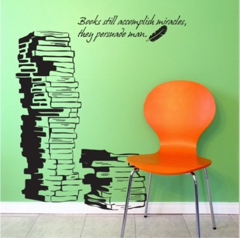 Book Books Words Vinyl Wall Decal Sticker Study Room Library Art ...