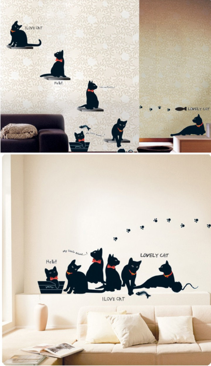 Black Cat With Paw Footprint Vinyl Wall Decal Sticker Living Room ...