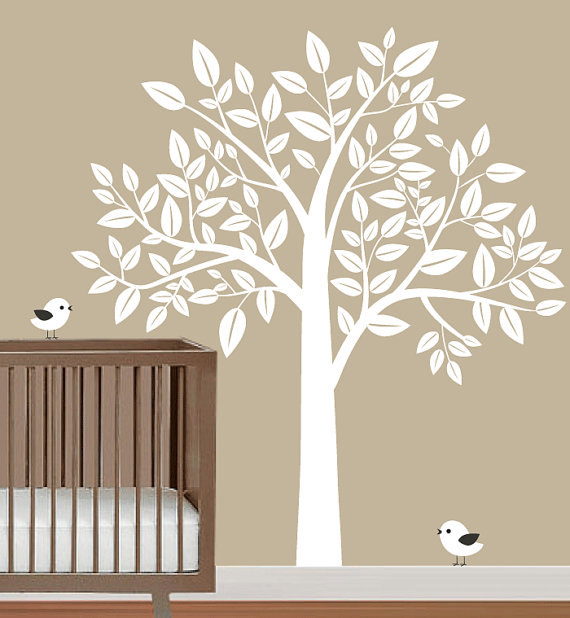 Nursery big white tree with birds trees leaf bird home for Big tree with bird wall decal deco art sticker mural