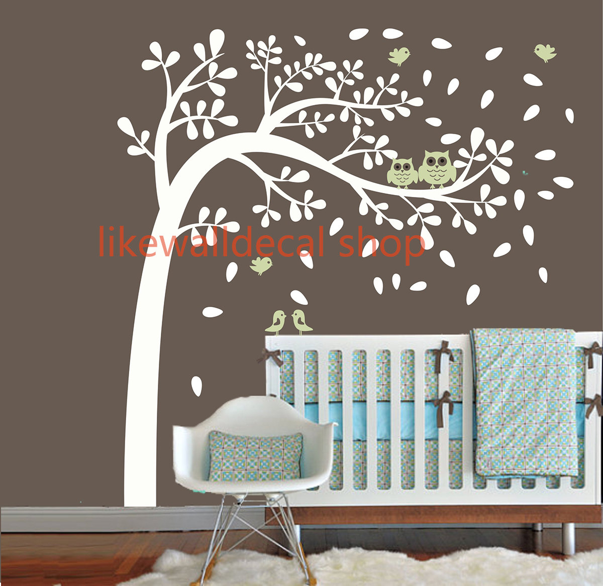 Vinyl Wall Decal Wind Blossom Tree Flying Leaf Cute Bird Owl Mommy Home  House Nursery Baby