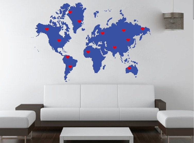 World map vinyl wall decal with marking pins location dots home world map vinyl wall decal with marking pins location dots home personalized house wall decals wall gumiabroncs