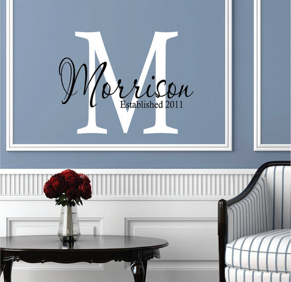 Monogram Family Name Decals   Vinyl Wall Decal   Teen Girls Name Decal    Personalized Kids Decal   Teen Boy Children Monogram Decor E41