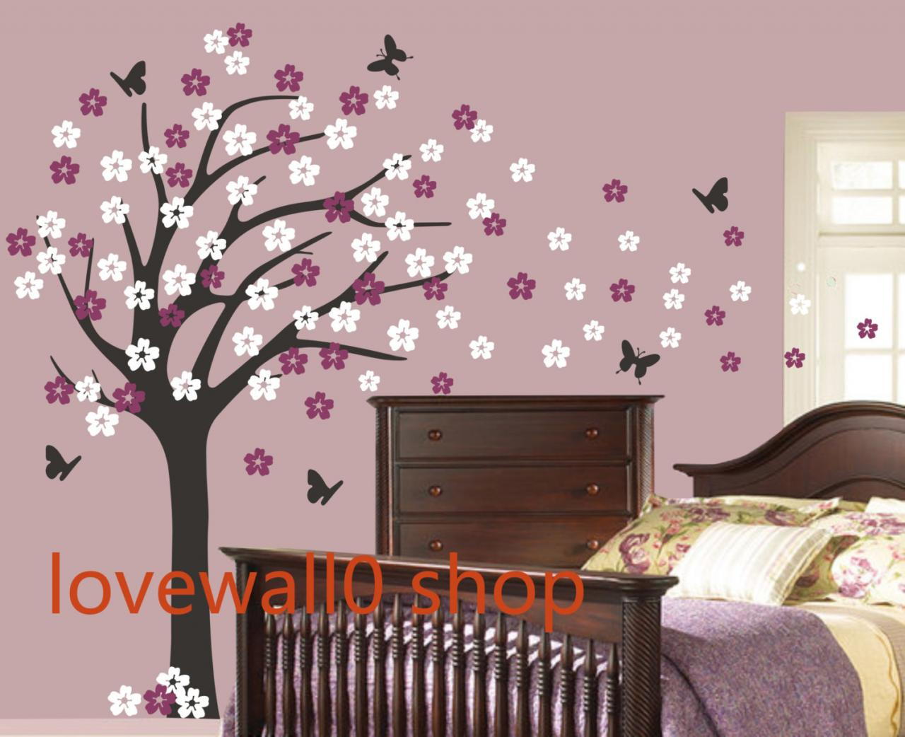 Vinyl Butterfly Wall Decal Large Roman Cherry Blossom Tree Decals