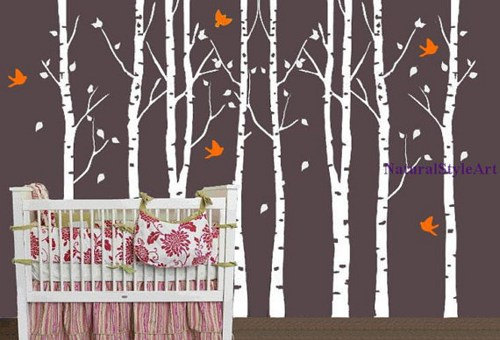 Vinyl Wall Decal Eight Big Birch Tree With Flying Birds Trees Buds - Vinyl wall decals birch tree