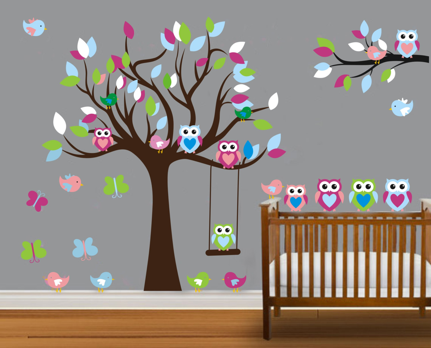 Vinyl Wall Decal On Colorful Nursery Cute Owl Family Tree Trees Owls Home House Art Decals Sticker Stickers Baby Room Kid 815